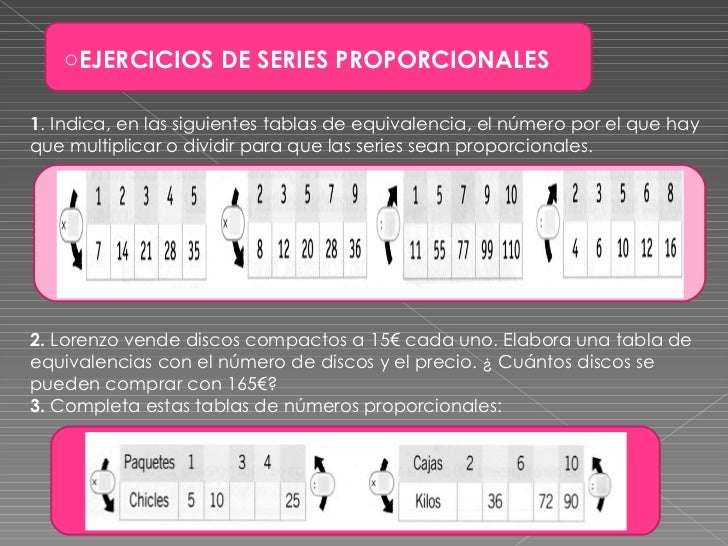 <ul><li>EJERCICIOS DE SERIES PROPORCIONALES </li></ul>1 . Indica, en las siguientes tablas de equivalencia, el número por ...