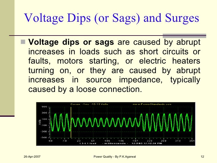 Voltage Dips (or Sags) and Surges <ul><li>Voltage dips or sags  are caused by abrupt increases in loads such as short circ...