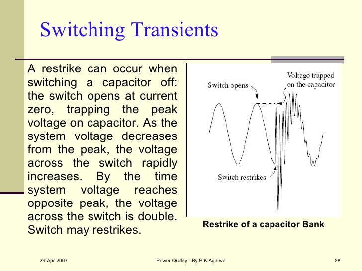 Switching Transients <ul><li>A restrike can occur when switching a capacitor off: the switch opens at current zero, trappi...
