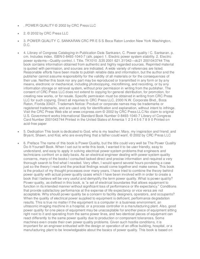 . POWER QUALITY © 2002 by CRC Press LLC  2. © 2002 by CRC Press LLC  3. POWER QUALITY C. SANKARAN CRC PR E S S Boca Ra...
