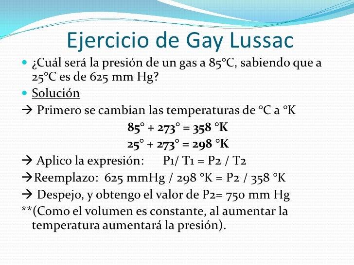 Ley Gay Lussac Ejercicios Resueltos 3o Eso
