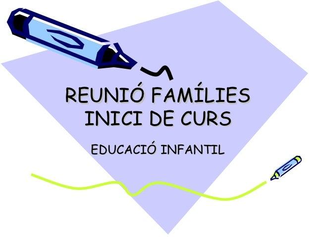 REUNIÓ FAMÍLIES  INICI DE CURS  EDUCACIÓ INFANTIL