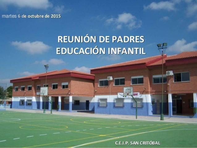 C.E.I.P. SAN CRITÓBAL martes 6 de octubre de 2015 REUNIÓN DE PADRES EDUCACIÓN INFANTIL