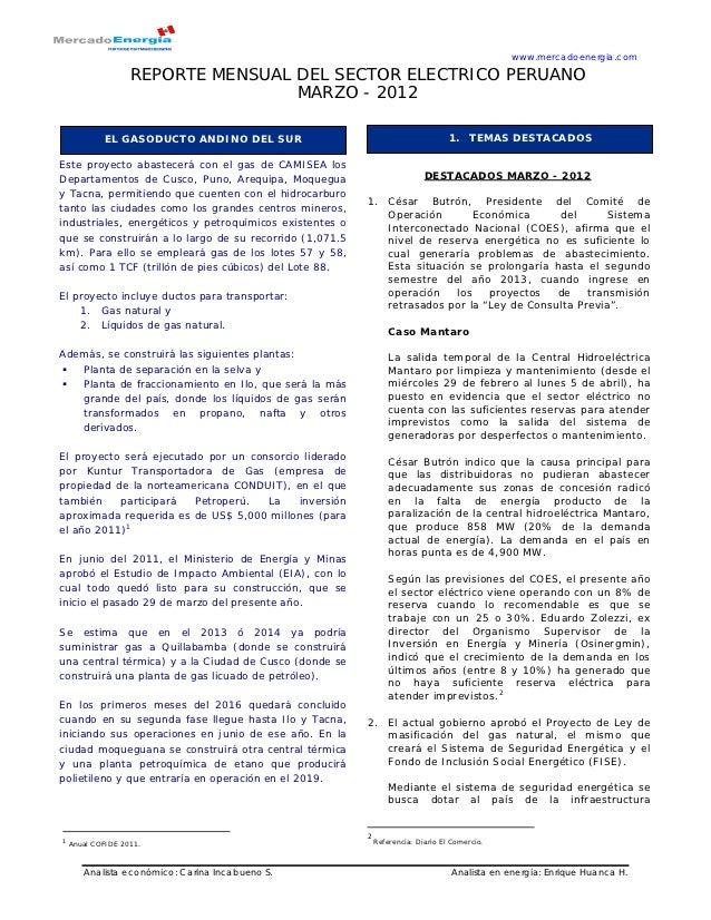 www.mercadoenergia.com                   REPORTE MENSUAL DEL SECTOR ELECTRICO PERUANO                                   MA...