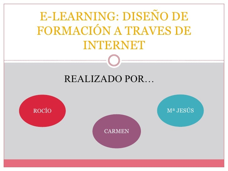 E-LEARNING: DISEÑO DEFORMACIÓN A TRAVES DE      INTERNET        REALIZADO POR…ROCÍO                    Mª JESÚS           ...