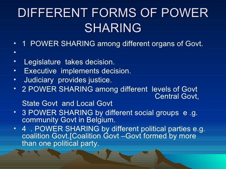 How is power sharing done in india essay