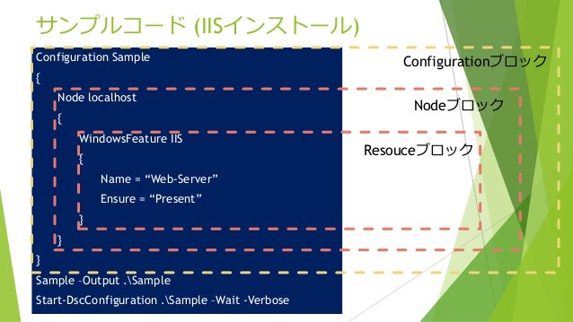 """サンプルコード (IISインストール) Configuration Sample { Node localhost { WindowsFeature IIS { Name = """"Web-Server"""" Ensure = """"Present"""" } ..."""