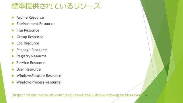 標準提供されているリソース  Archie Resource  Environment Resource  File Resource  Group Resource  Log Resource  Package Resource ...