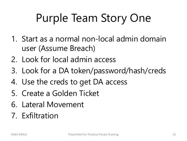 Purple Team Story One 1. Start as a normal non-local admin domain user (Assume Breach) 2. Look for local admin access 3. L...