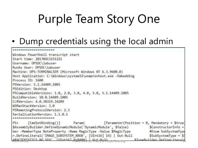 Purple Team Story One • Dump credentials using the local admin access Nikhil Mittal 22PowerShell for Practical Purple Team...
