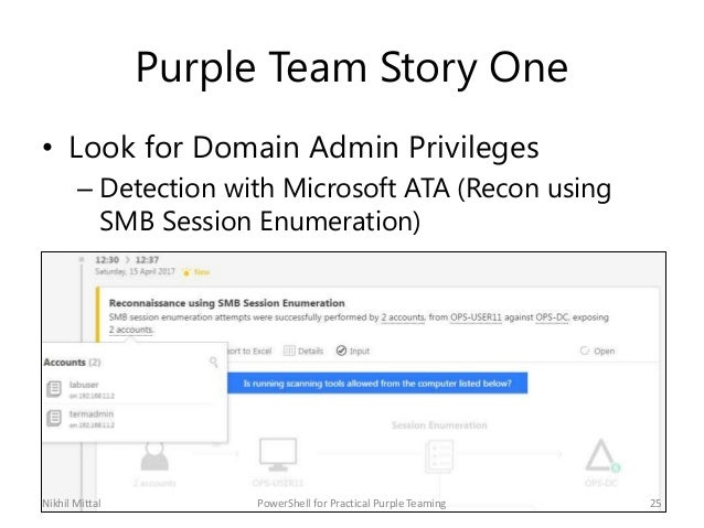 Purple Team Story One • Look for Domain Admin Privileges – Detection with Microsoft ATA (Recon using SMB Session Enumerati...
