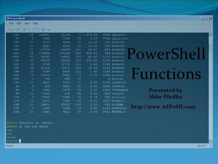 PowerShell Functions Presented by Mike Pfeiffer http://www.AZPoSH.com