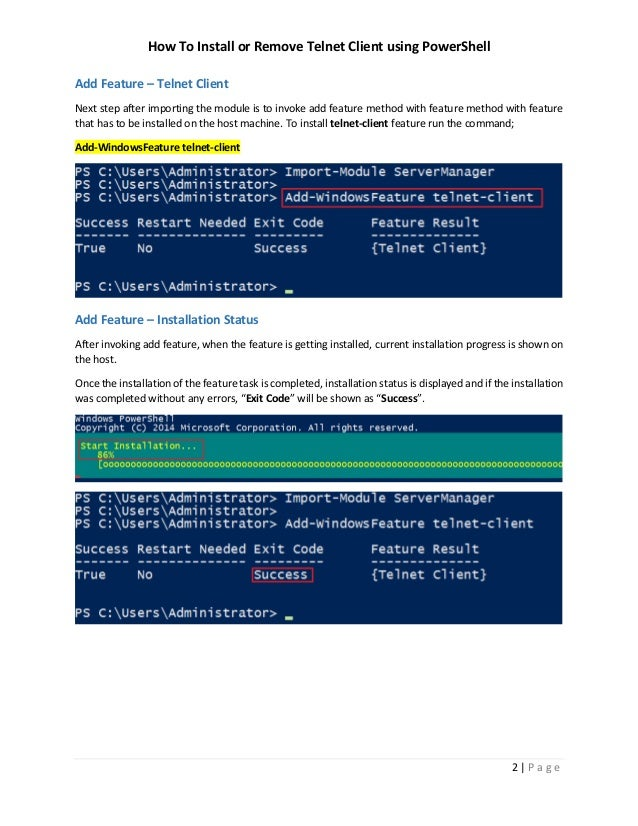 How To Install Windows Feature Telnet Client with PowerShell