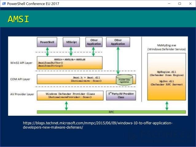 AMSI https://blogs.technet.microsoft.com/mmpc/2015/06/09/windows-10-to-offer-application- developers-new-malware-defenses/