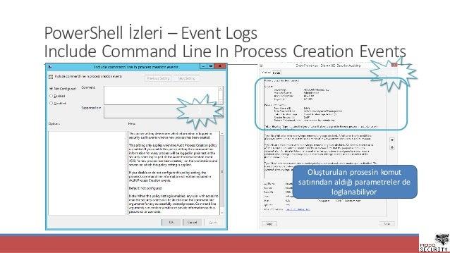 PowerShell İzleri– Event Logs Include Command Line In Process Creation Events 2 3 Oluşturulanprosesinkomut satırından...