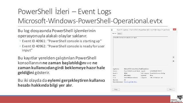 PowerShell İzleri– Event Logs Microsoft-Windows-PowerShell-Operational.evtx Bulog dosyasındaPowerShell işlemlerinin op...