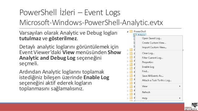 PowerShell İzleri– Event Logs Microsoft-Windows-PowerShell-Analytic.evtx VarsayılanolarakAnalytic veDebug logları tutu...