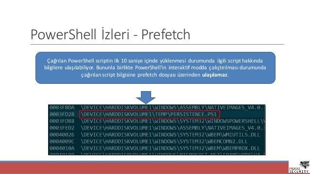 PowerShell İzleri- Prefetch ÇağrılanPowerShell scriptin ilk10saniyeiçindeyüklenmesidurumunda ilgiliscript hakkınd...