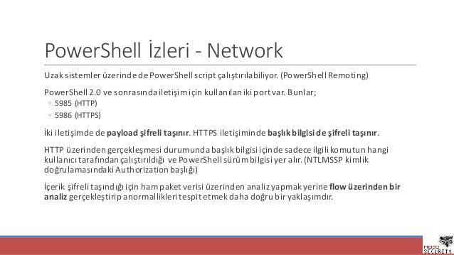 PowerShell İzleri- Network UzaksistemlerüzerindedePowerShell script çalıştırılabiliyor.(PowerShell Remoting) PowerSh...