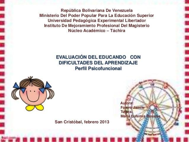 República Bolivariana De VenezuelaMinisterio Del Poder Popular Para La Educación Superior    Universidad Pedagógica Experi...