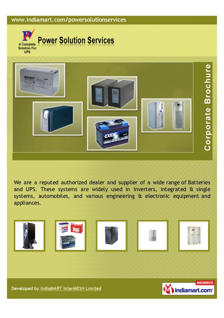 We are a reputed authorized dealer and supplier of a wide range of Batteriesand UPS. These systems are widely used in inve...