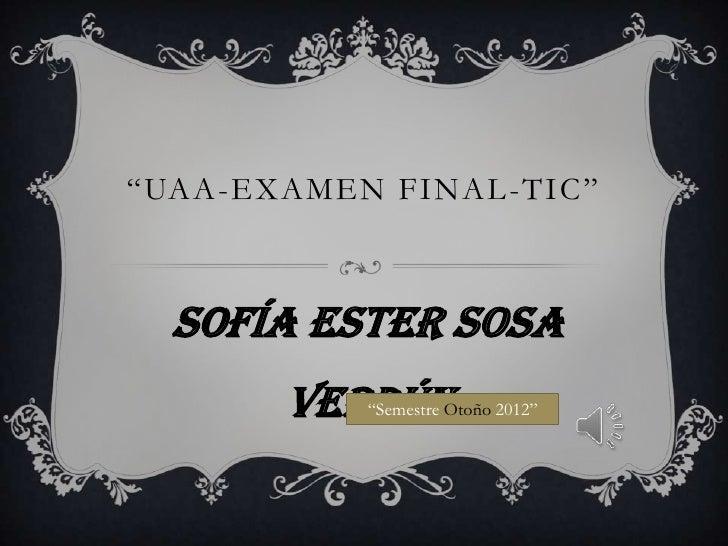 """UAA-EXAMEN FINAL -TIC""  Sofía Ester Sosa       Verdún           ""Semestre Otoño 2012"""