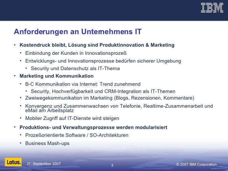 Anforderungen an Unternehmens IT <ul><li>Kostendruck bleibt, Lösung sind Produktinnovation & Marketing </li></ul><ul><ul><...
