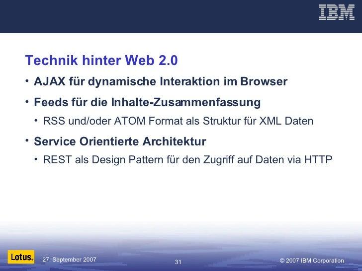 Technik hinter Web 2.0 <ul><li>AJAX für dynamische Interaktion im Browser </li></ul><ul><li>Feeds für die Inhalte-Zusammen...