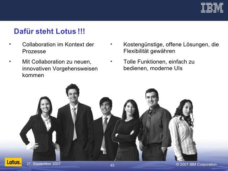 Dafür steht Lotus !!! <ul><li>Collaboration im Kontext der Prozesse </li></ul><ul><li>Mit Collaboration zu neuen, innovati...
