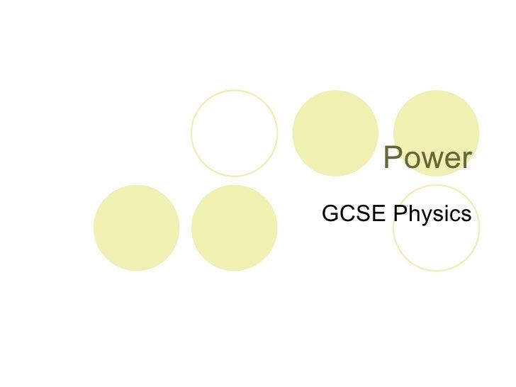 Power GCSE Physics