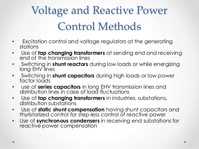 power systems voltage and power control voltage and reactive power control
