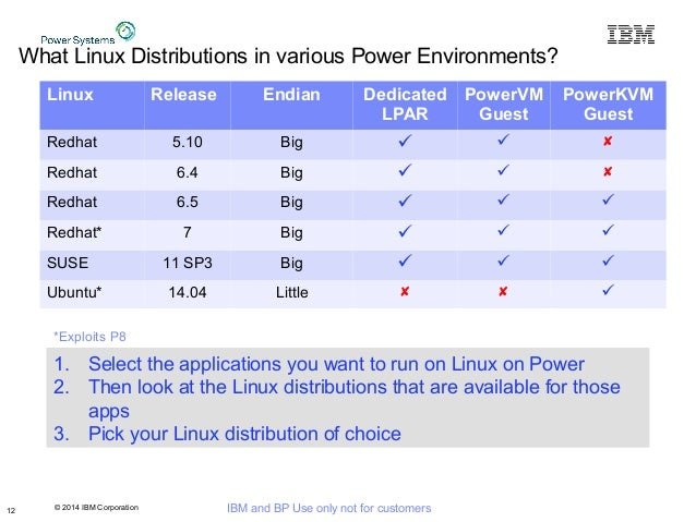 © 2014 IBM Corporation IBM and BP Use only not for customers What Linux Distributions in various Power Environments? 12 Li...