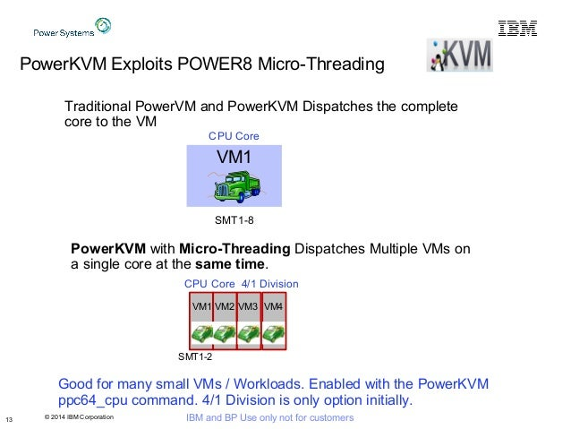 © 2014 IBM Corporation IBM and BP Use only not for customers13 PowerKVM Exploits POWER8 Micro-Threading VM1 Traditional Po...