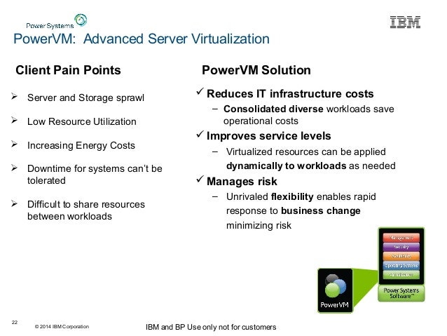 © 2014 IBM Corporation IBM and BP Use only not for customers 22  Reduces IT infrastructure costs – Consolidated diverse w...