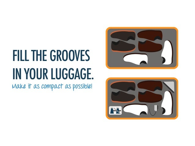 FILL THE GROOVES IN YOUR LUGGAGE. Make it as compact as possible!