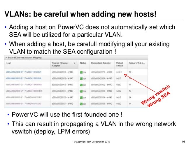 VLANs: be careful when adding new hosts! • Adding a host on PowerVC does not automatically set which SEA will be utilized ...