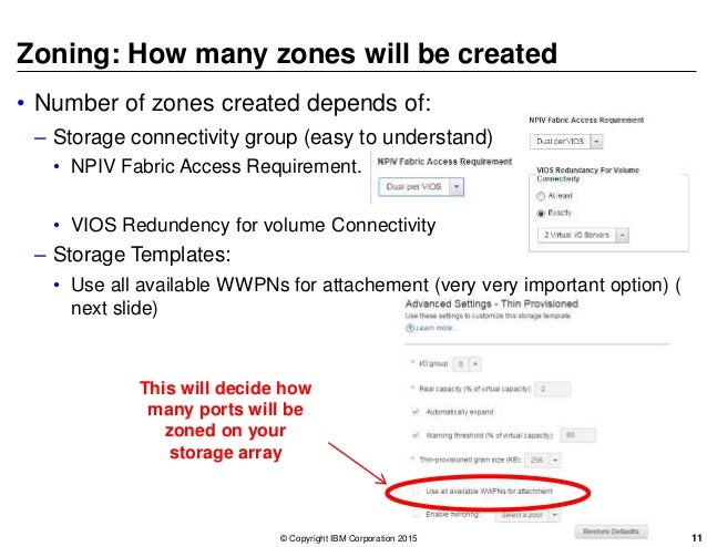 Zoning: How many zones will be created • Number of zones created depends of: – Storage connectivity group (easy to underst...