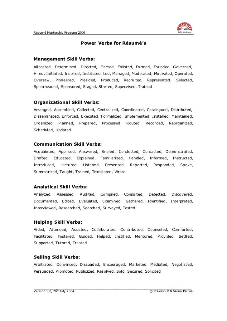 Rsum Mentorship Program 2004 Power Verbs for Rsum'sManagement Skill ...