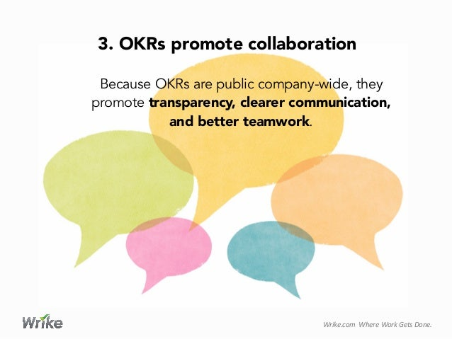 Wrike.com    Where  Work  Gets  Done.   Because OKRs are public company-wide, they promote transparency, clear...