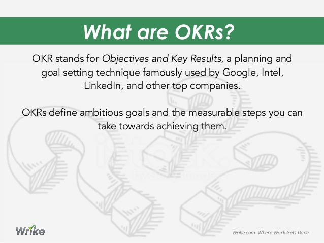 What are OKRs? OKR stands for Objectives and Key Results, a planning and goal setting technique famously used by Google, I...
