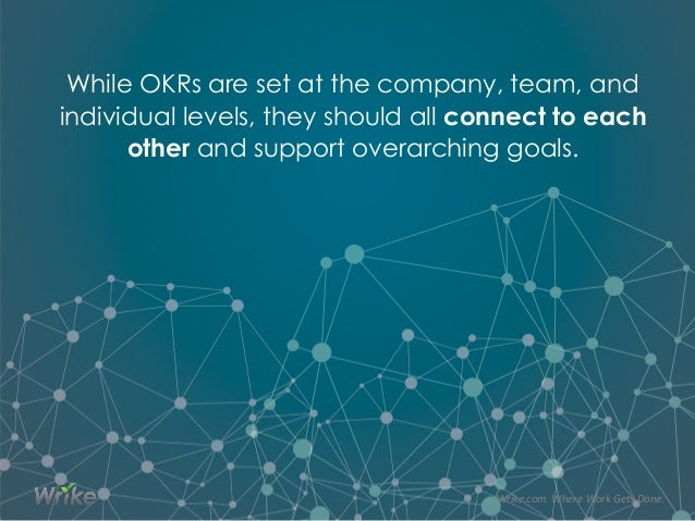 While OKRs are set at the company, team, and individual levels, they should all connect to each other and support overarch...