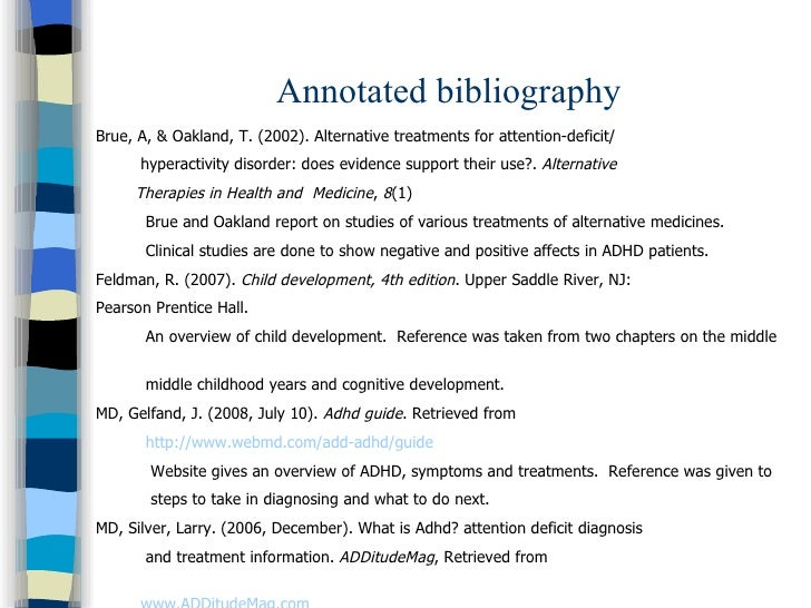 annotated bibliographies adhd Special needs annotated bibliography book suggestions for parents and teachers working with special needs children greenspan  the add/adhd checklist.