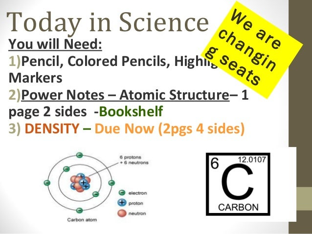 We ch ar an e You will Need: gs gin 1)Pencil, Colored Pencils, Highlighters or ea ts Markers  Today in Science  2)Power No...