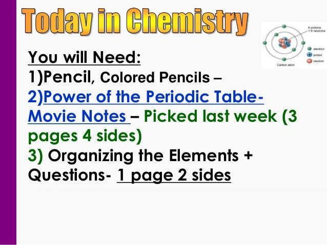 You will Need: 1)Pencil, Colored Pencils – 2)Power of the Periodic TableMovie Notes – Picked last week (3 pages 4 sides) 3...