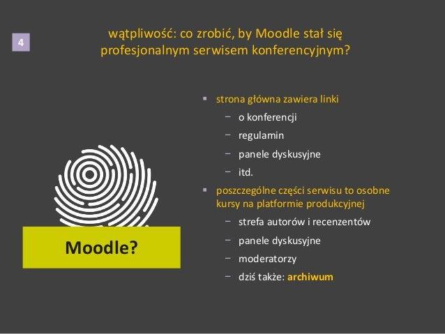 wątpliwość: co zrobić, by Moodle stał się profesjonalnym serwisem konferencyjnym? 4  strona główna zawiera linki − o konf...