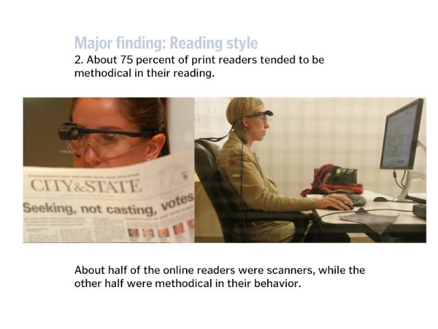 Online,  there was very little difference in the amount of text read between methodical readers and scanners.   METHODICAL...