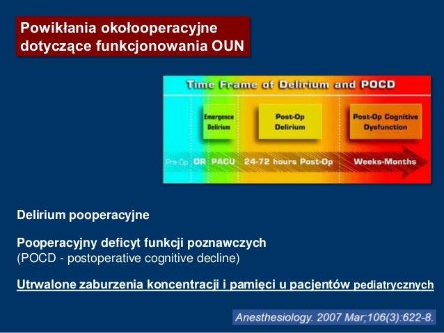 Powikłania okołooperacyjne dotyczące funkcjonowania OUN Delirium pooperacyjne Pooperacyjny deficyt funkcji poznawczych (PO...