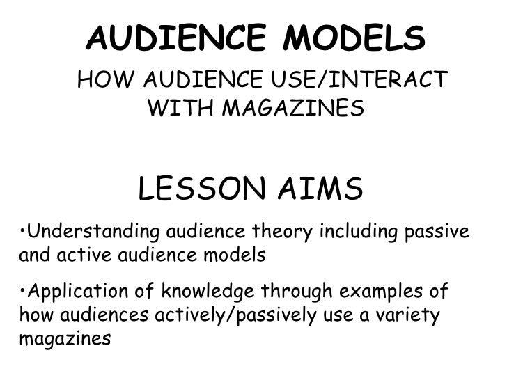 AUDIENCE MODELS   HOW AUDIENCE USE/INTERACT WITH MAGAZINES <ul><li>LESSON AIMS </li></ul><ul><li>Understanding audience th...