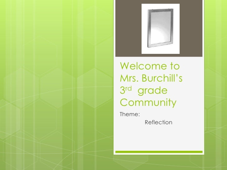 Welcome toMrs. Burchill's3rd gradeCommunityTheme:         Reflection